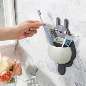1Pcs Toothbrush Wall Mount Holder Cute Totoro Sucker Suction Bathroom Organizer Family Tools Accessories Bathroom Sets