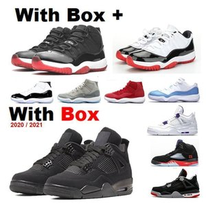 New 2021 Neon 4s Bred 11s Low Men Basketball Shoes Concord 45 Red Cement Pure Orange Metallic 4s Cool Grey Men Sneakers With Logo Wi