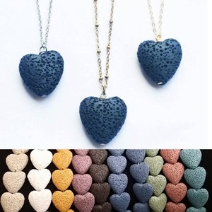 Natural Volcanic Lava Rock Heart Love Pendent Necklace Essential Oil Diffuser Volcanic Stone Necklace for Women Men Fashion Health Jewelry