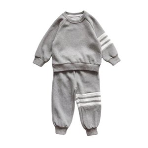 7145 Wholesale price top brand children's autumn and winter suit grey sports Pullover Sweater two piece set pants warm Y1117