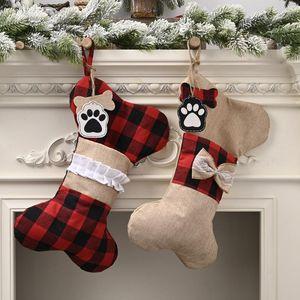 Christmas Decorations Linen Lattice Bone Christmas Socks Apple Candy Bags Tree Pendants Children Gift Storage new year's decor