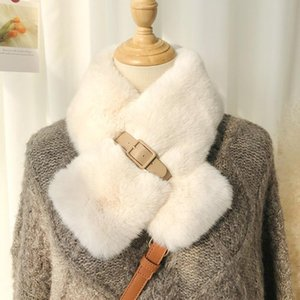 Faux Fur Scarf for Women Fashion Solid Color Hippocampus Scarf Winter Warm Elegant Scarves Xmas Gifts