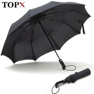 Topx Nouveaux gros hommes fortes hommes coupe-vent doux pliant compact entièrement automatique de haute qualité Pongee Umbrella Femmes 201123