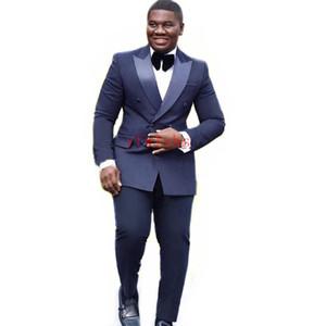 Handsome Double-Breasted Groomsmen Peak Lapel Groom Tuxedos Man's Suits Wedding Prom Dinner Best Man Blazer(Jacket+Pants+Tie) K398