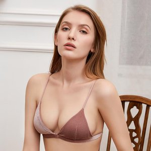 Hjwsfdcai Ladies Front Buckle Beauty Back Bra Corduroy French Triangle Cup Underwear No Steel Ring Thin Mold Cup Sexy Women Bra