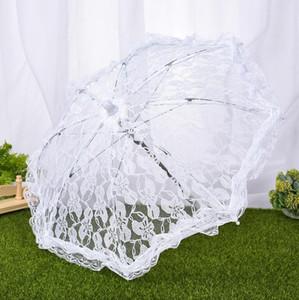 Delicado encaje paraguas elegante escenario rendimiento estudio paraguas algodón bordado paraguas antigüedades novia dama de honor paraguas GWF3630