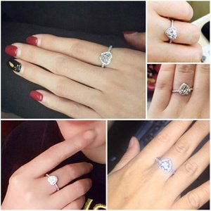 FactoryJF77Women Austria Crystal Rhinestone Fashion Heart Finger Rings Jewelry Accessories Charm For Valentine's gift