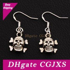 Halloween Skull Earrings 925 Silver Fish Ear Hook 40pairs  Lot Antique Silver Chandelier E975 Dangle 31 .8x12 .9mm
