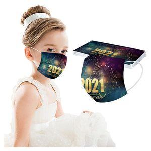 2021 Designer Neues Jahr Erwachsene Kinder Cartoon Muster Feuerwerk Schneeflocke Einweg Elastische Schutzstaubdichte Dekorative Gesichtsmaske