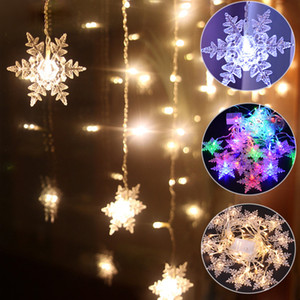 Outdoor Xmas Snowflake LED String lights Flashing Lights Curtain Light Waterproof Holiday Party Connectable Wave Fairy Light D30 Q1127