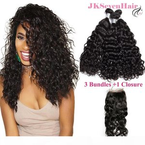 12A Grade Water Wave Virgin Brazilian Hair Bundles 3PCS With 4x4inch Lace Closure Indian Peruvian Human Hair Wefts With Baby Hair Closure