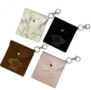 Bag PU Leather Storage Bags Portable Dustproof Masks Card Cover Keyring Holder Snapper Mask Organization GGE3722-1