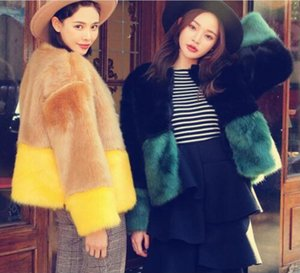 Europe and the United States autumn and winter fashion new artificial fur jacket ladies tops fur coat 2 color stitching