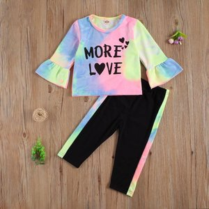 2021 Fashion New Autumn Baby Girls Outfits Suit Bambini Multicolor Tie-Tinked Sleeved Manica Top + Black Long Pants Abbigliamento Set