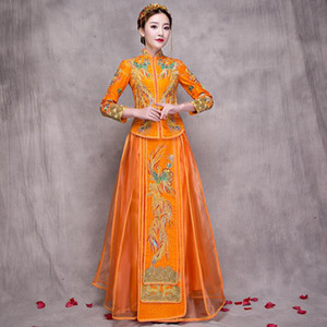 Ethnic Clothing Wedding Cheongsam Traditional Chinese Bride Dress Ancient Marriage Costume Gown Womens Embroidery Phoenix Red Qipao