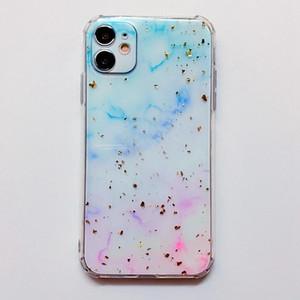 Confetti Flake Foil Marble Clear Soft TPU Case For Iphone 12 Pro MAX 12 Mini Natural Granite Stone Rock Gel Sequin Rainbow Phone Back Cover
