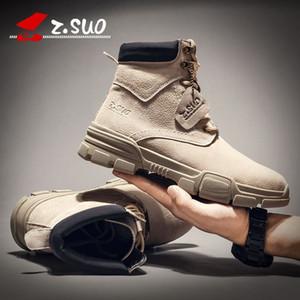 Automne et hiver Martin Boots Tendance des hommes Chaussures Hommes Britanniques Désert Bottes courtes Moyenne High Help Work Bottes de vêtements ZS919 C1212