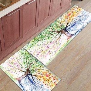 2 teile / satz Bunte Aquarell Frühling Lebensbaum Fußmatte Eingang Haustür Teppich Badezimmer Küche Teppich Anti-Rutsch-Bodenmatten