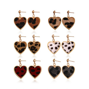 Cheetah Leoprd Sexy Love Heart Drop Valentine's Day Holiday Earrings Women Custom Animal Print Leather Statement Stud Earrings in Gold Tone