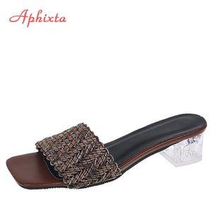 APHIXTA 2021 Nuovo Summe Donne Pantofole Slifts 5cm Transparent Square Tacchi Mules Donne Flip Flops Scarpe Plus Size 43 44