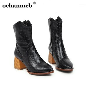 Ochanmeb Snake Stampa Boots Western Boots PU Leather Snakeskin Boots Boots Block Tacchi a punta Punta Cowboy per donne Cowgirl Boot1