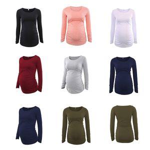 Mujeres camisetas maternidad camisetas de manga larga cuello redondo mediano mediano longitud casual top ropa maternidad camisa de suéteres M3173