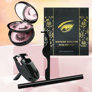 3D Mink False Eyelash 2 Pairs Magnetic Eyelashes & Fake Eyelash Eyeliner Liquid Long Lasting lashes Makeup with curler