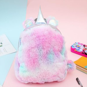 2019 Plush Backpack With Girl Unicorn Backpack Youth Bag Student Bag Brigade Artificial Fur Small Backpack School Bag