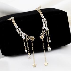 Korean fashion sweet inlaid zircon LOVE letter tassel earrings jewelry temperament women romantic 18k gold plated star drop earrings gift