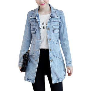 2020 Women Boyfriend Style Long Sleeve Vintage Jean jacket Denim Loose Spring Autumn Denim Coat Jeans S-3XL female coat Y1077