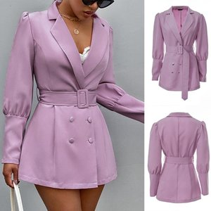 Women'S Belt Deep V Slim Slimming Suit Jacket Fashion Low-Cut Puff Sleeve Slim Suit Autumn