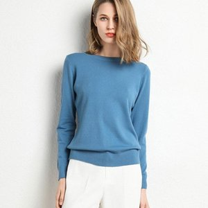 2020 Female Slim O-Neck Pullover Cashmere Wool Blending Sweater Autumn And Winter Long-Sleeved Knit Bottoming Shirt Large Size