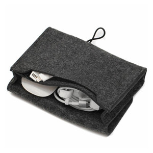 1PC Home Storage Organizer Key Coin Package Mini Felt Pouch Earphone TF Card Power Bank Data Cable Travel Organizer
