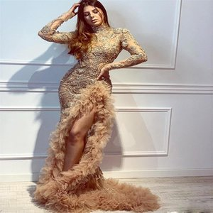 Sexy High-split Luxury Beads Evening Dresses Appliqued Mermaid Champagne Long Sleeves Prom Dress Plus Size Formal Party Guest Wears