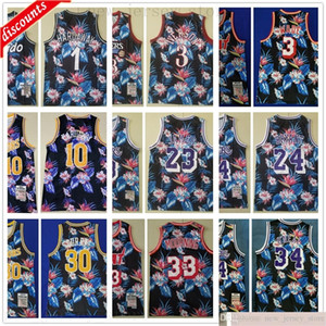 Floral Floral Fashion Retro Camo Pallacanestro Maglie 10 Eraway Dwyane Iverson 3 Wade 23 James 30 Curry 33 Mourning Bird 1 Penny 34 O'Neal Jerseys