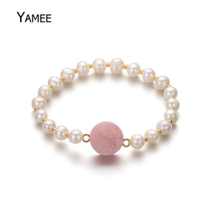 Unique Natural Round 16cm Freshwater White Pearl Bracelets Multicolor Druzy Quartz Stone Beads Bangle For Women Gift Statement