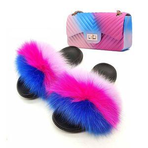 Hot Sale-Fashion Ladies Fur Slides V Wave Jelly Purse Set Women Outdoor Casual Furry Plush Slippers Rainbow Colors Shoulder Bags