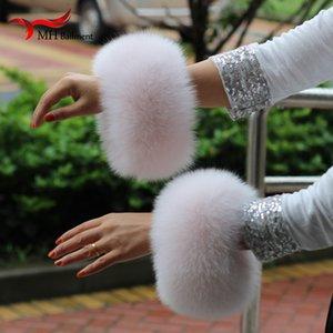 Luxury-2019 Genuine Fox Cuff Arm Warmer Lady Bracelet Real Wristband Glove Raccoon Fur Cuffs