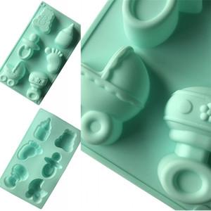 Pacifier Foot Modeling Bolo Moldes Bebê Chuveiro DIY Handmade Sabonete Molde 6 Buracos Posição Verde Silicone Moldes 5xg L1