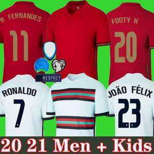 Maglia da calcio Portugal soccer jersey Euro Cup RONALDO 20 21 B.FERNANDES JOAO FELIX DIOGO J. RUBEN NEVES Maglia da calcio BERNARDO 2020 2021 squadra nazionale Men + Kids kit
