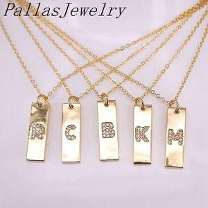 12Pcs Fashion Metal Golden Jewelry Micro Paved CZ Zircon Charms 26 Letter Alphabet Pendant Necklace Y1130