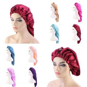 Unisex Satin Long Bonnet Sleep Cap Tail Chemo Cap Buckle Headscarf Tube Turban Hat Elastic Hair Band Hair Care Bonnet Nightcap