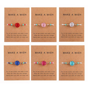 Handmade Druzy Resin Stone Bracelet Make a Wish Card Wax Rope Braided Bracelets Bangles With Rice Bead for Women Girls Summer Beach Jewelry