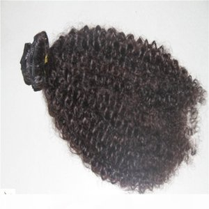Pure Color 9 Pieces Set 100g set Human Hair Weave 10-30 Inchs Kinky Curly Hair Extensions Clip In On Hair