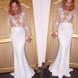 Setwell Jewel Sheer Neck Mermaid Wedding Dresses Long Sleeves Illusion Backless Lace Appliques Floor Length Bridal Gowns