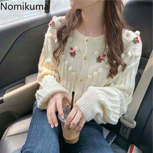 Nomikuma Cardigan Women Flower Embroidery Single Breasted Long Sleeve Knitted Sweater Female Korean Sweet Knitwear Tops 3d488