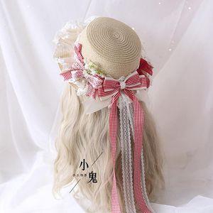 Multi-color plaid Lolita straw hat Day wild small fresh pastoral long ribbon sweet bow sun hat