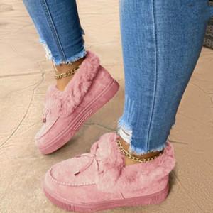 Le donne invernali scarpe di cotone 2020 bowknot peluche stivali da neve calda donna casual stivaletti piatti casual stivali a colori solido scarpe da donna pelosa