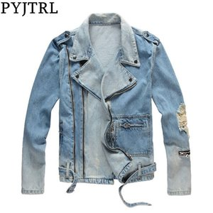 PYJTRL Mens Autumn Winter Thick Holes Ripped Light Blue Denim Jacket Motorcycle Streetwear Zippers Old fashioned Coat Outerwear 201123