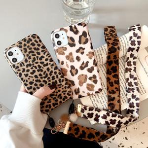 Leoparden-Drucktelefonkasten für iPhone 11 12Pro Max XR XS MAX x 8 7 6S plus Luxusgurt weiche Silikon-Lanyard-Abdeckung für iPhone 12